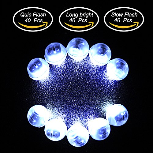 Neo LOONS 120pcs/lot White Round Led Flash Ball Lamp LED Light Up Balloon Lights Long Standby Time for Paper Lantern Birthday Party Wedding Decoration,40 Pcs Steady&40 Pcs Slow Flash&40 Pcs -
