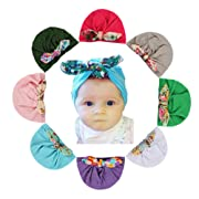 8 Pcs Baby Girl Hats Soft Cute Turbans Headband Beanie Cap for Infant Kids Girl's