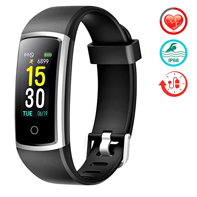 Fitness Tracker With Blood Pressure HR Monitor - 2019 Upgraded FITFORT Activity Tracker Watch With Heart Rate Color Monitor IP68 Pedometer Calorie Counter and 14 Sports Tracking for Women Kids Men best fitness tracker watches