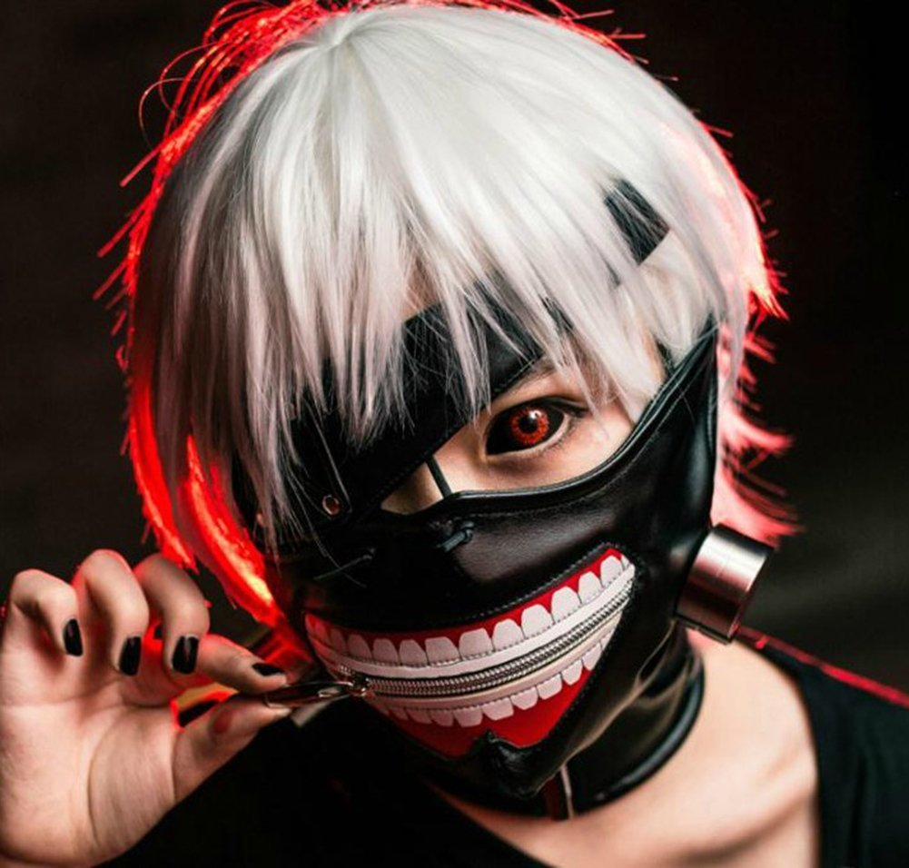 1PCS Cosplay Tokyo Ghoul Kaneki Ken Adjustable Zipper PU Leather Mask Halloween Prop with an Attachable and Detatchable Eye Patch