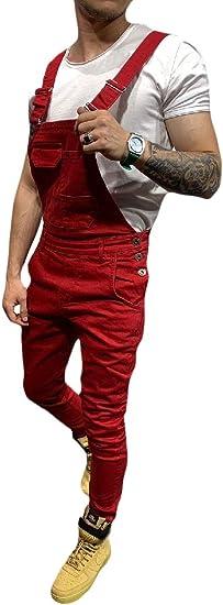cheelot メンズスリムジャンプスーツカジュアルソリッド迷彩ビブパンツオーバーオールデニムジーンズ