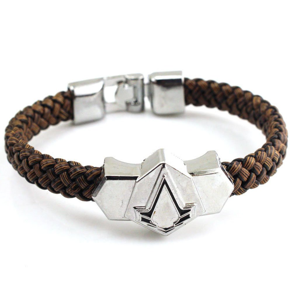 Generic Assassin's Creed Pu Leather & Alloy Wristband Brown Bracelet Pearl