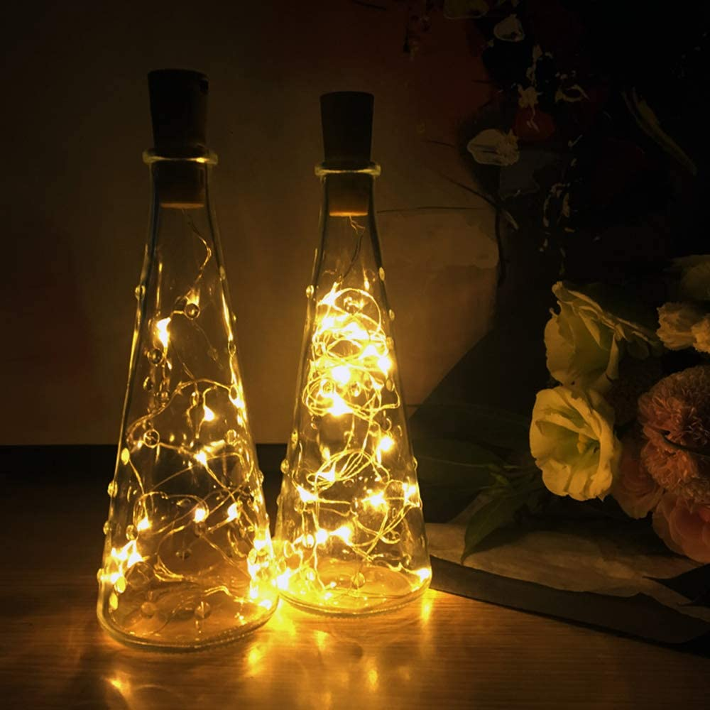Lwind Wine Bottle Lights, 20 LED Battery Powered 6.6ft Silver Copper Wire Warm-White Fairy Mini String Lights for DIY, Decoration, Party, etc