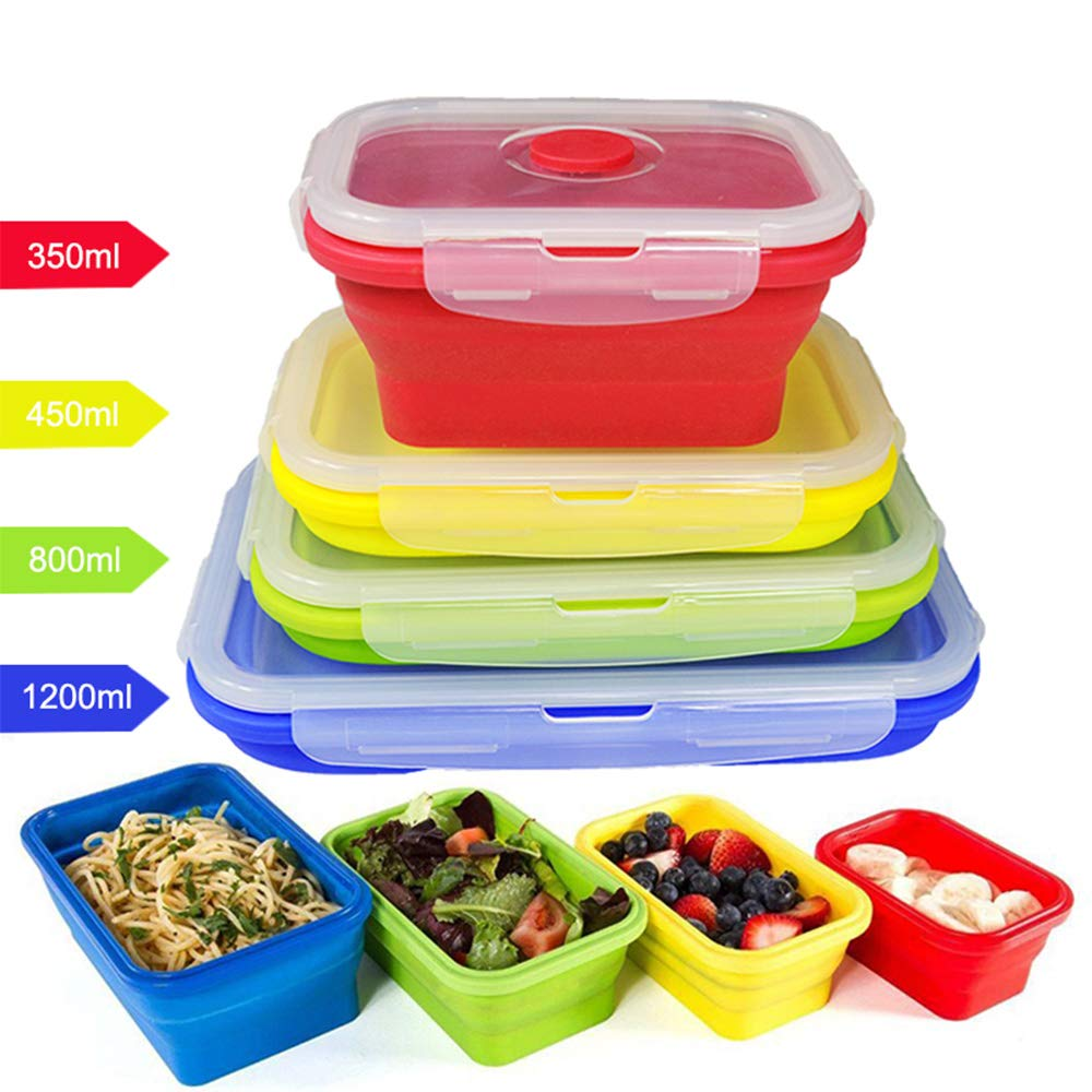 4 Pcs Silicone Collapsible Food Storage Containers Lunch Bento Box,HanDingSM Reusable BPA Folding Food Storage, Microwave, Dishwasher and Freezer Safe