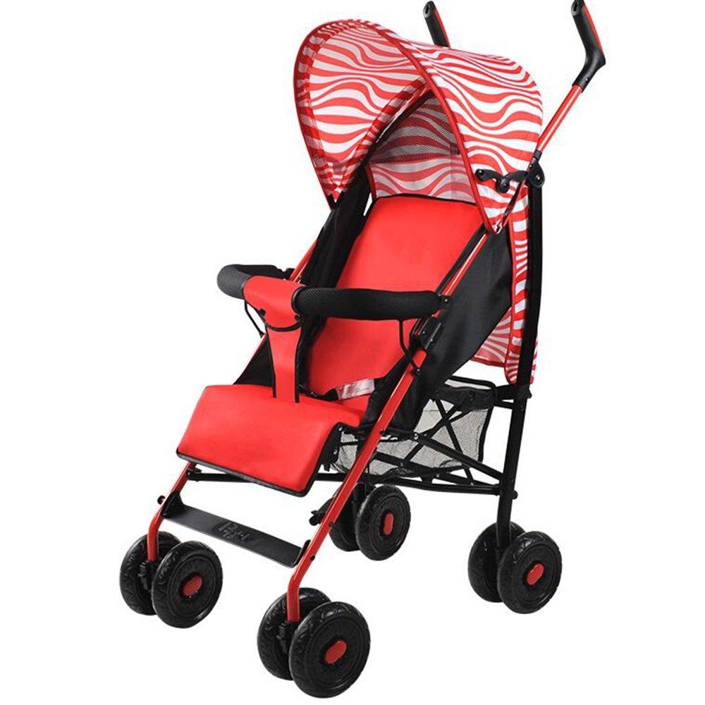 HAIZHEN マウンテンバイク 多機能乳母車折りたたみ式軽量で持ち運びが簡単座席リクライニング 新生児 B07CCKV79C 赤 赤