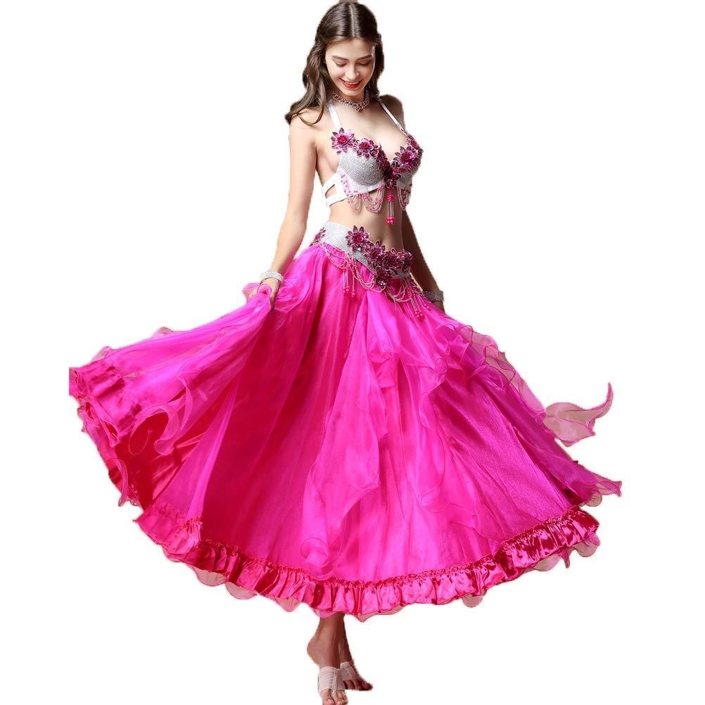 ベリーダンスコスチューム成人女性オリエンタルダンスパフォーマンスセット、カラーダイヤモンドブラ+シフォンチュールスカート、2個 B07Q8278XH ピンク L l