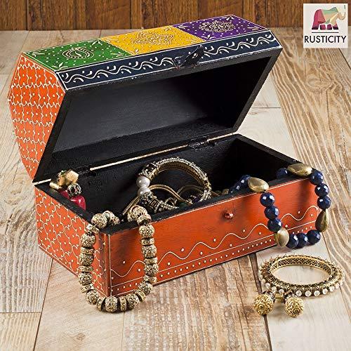 Rusticity Wooden Jewelry Box, Emboss Painted Colorful Jewelry Organizer - Treasure Chest | Handmade Jewelry Box, Jewelry Storage Box| (10x6.5x5.5 ()