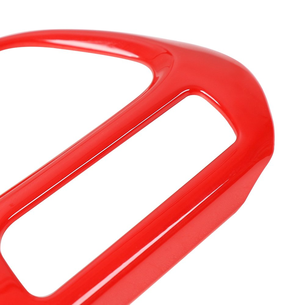 JeCar Interior CD Audio Switch Knob Ring Cover Trim Frame for Jeep Renegade 2015 2016 2017 Red-4