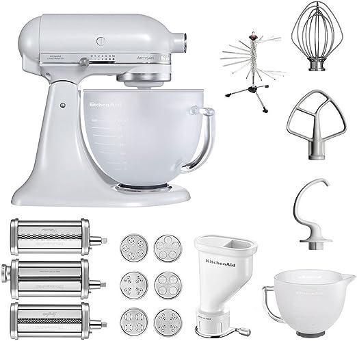 KitchenAid Artisan – Robot de cocina, 5 ksm156efp, pasta del paquete incluye Top accesorios: Pasta Snoot con 3 rodillos, pasta Prensa (Corto) con 6 boquillas, nudeltrockner y accesorios estándar (Frosted Pearl): Amazon.es: Hogar