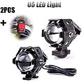 2unidades de faros para motos de 125W Alftek U5, antiniebla, lámpara + interruptor