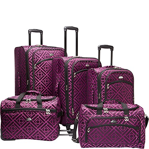 american-flyer-astor-5-piece-spinner-luggage-set-black-purple-one-size