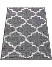 "Olanly Indoor Doormat, Non-Slip Absorbent Resist Dirt Entrance Rug, Machine Washable Low-Profile Inside Floor Mat Area Rug for Entryway, Grey Trellis 20""x 32"""