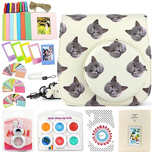Wogozan 9 In 1 Bundle For Fujifilm Instax Mini 8 9 Accessories  Cat Mini Camera Case With Strap Album For Instax Mini Film Selfie Lens Filters Photo Frames Camera Sticker  So On Other Accessories