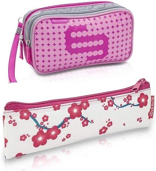 Pack bolsa isotérmica Dias en color rosa y estuche Insulins con flores rosas, Elite Bags, Lote ahorro, Kit de 2 tamaños: 1 bolsa grande + 1 estuche pequeño: Amazon.es: Hogar