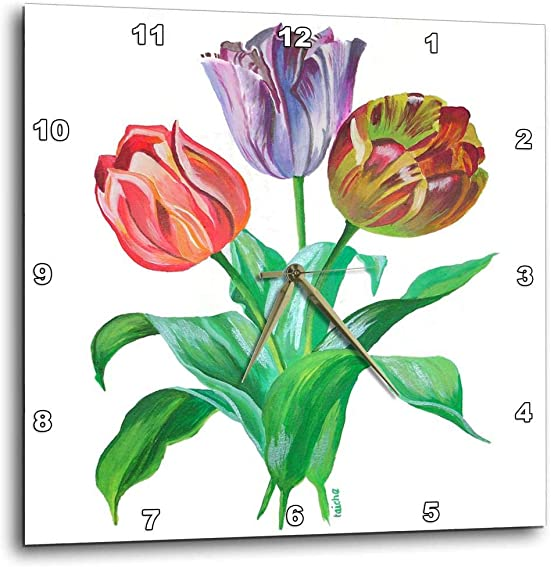 3dRose dpp_18289_1 Flowers Tulips-Wall Clock, 10 by 10-Inch
