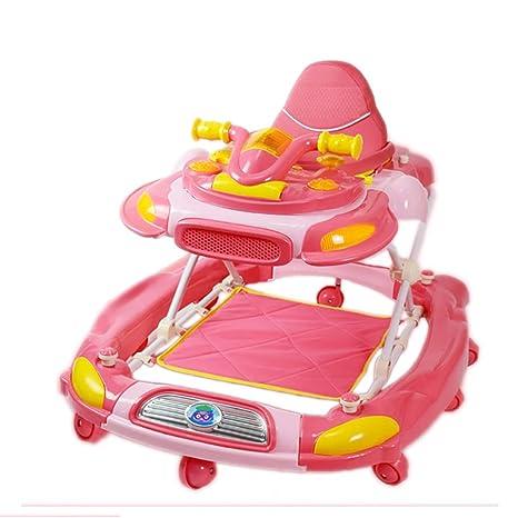 GUO@ Andador plegable para bebés 6/7-18 meses Anti-vuelco Música