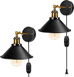 Black Dimmable Metal Wall Sconce 2 Pack Plug in or Hardwire Industrial Vintage Wall Lamp Fixture 240 Degree Simplicity Arm Swing Wall Lights