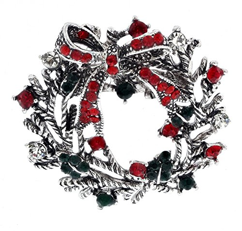 Unica Women's Holiday Themed Rhinestone Gem Pin (Wreath-Silver)