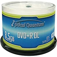 Optical Quantum OQDPRDL08LT 8X 8.5 GB DVD+R DL Double Layer Recordable Blank Media Logo Top