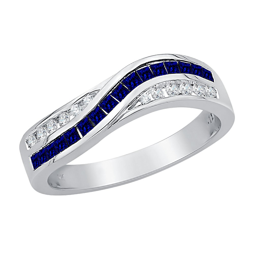 Diamond and Princess Cut Sapphire Wedding Band in Sterling Silver (7/8 cttw) (GH Color, I2-I3 Clarity) (Size-11)