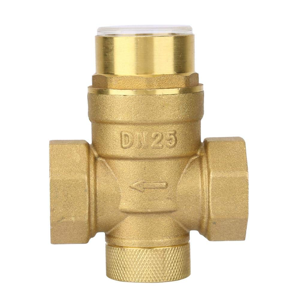 Pressure Reducing Valve, Water Control 1 inch Pressure Reducing Valve Brass Water Pressure Regulator with Gauge Meter by Keenso (Image #1)