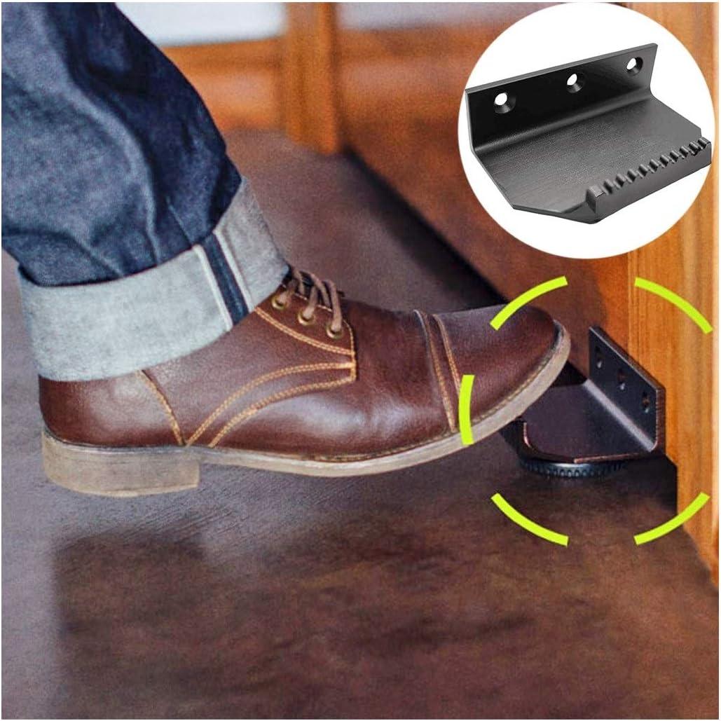 Foot Operated Hands Free Door Opener Touchless Hygienic Foot Door Pull Opener Bracket No Touch Door Opener Handle Sanitary Contactless Metal Door Opener for Office Business Bathroom Black