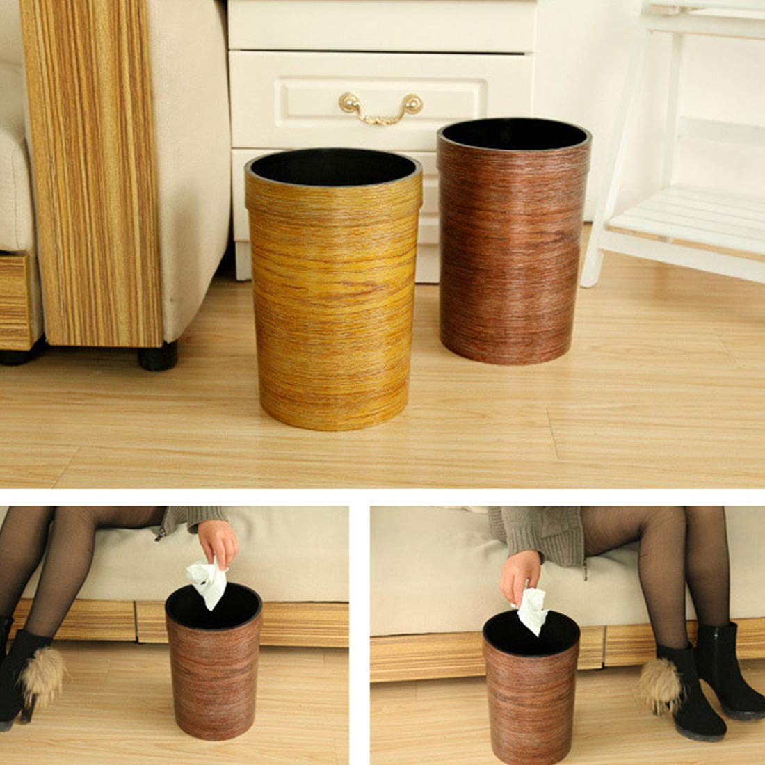 WOLFBUSH Trash Bin 9L Wood Grain Garbage Can Plastic Pressure Ring Waste Basket Without Lid (Coffee) by WOLFBUSH (Image #2)