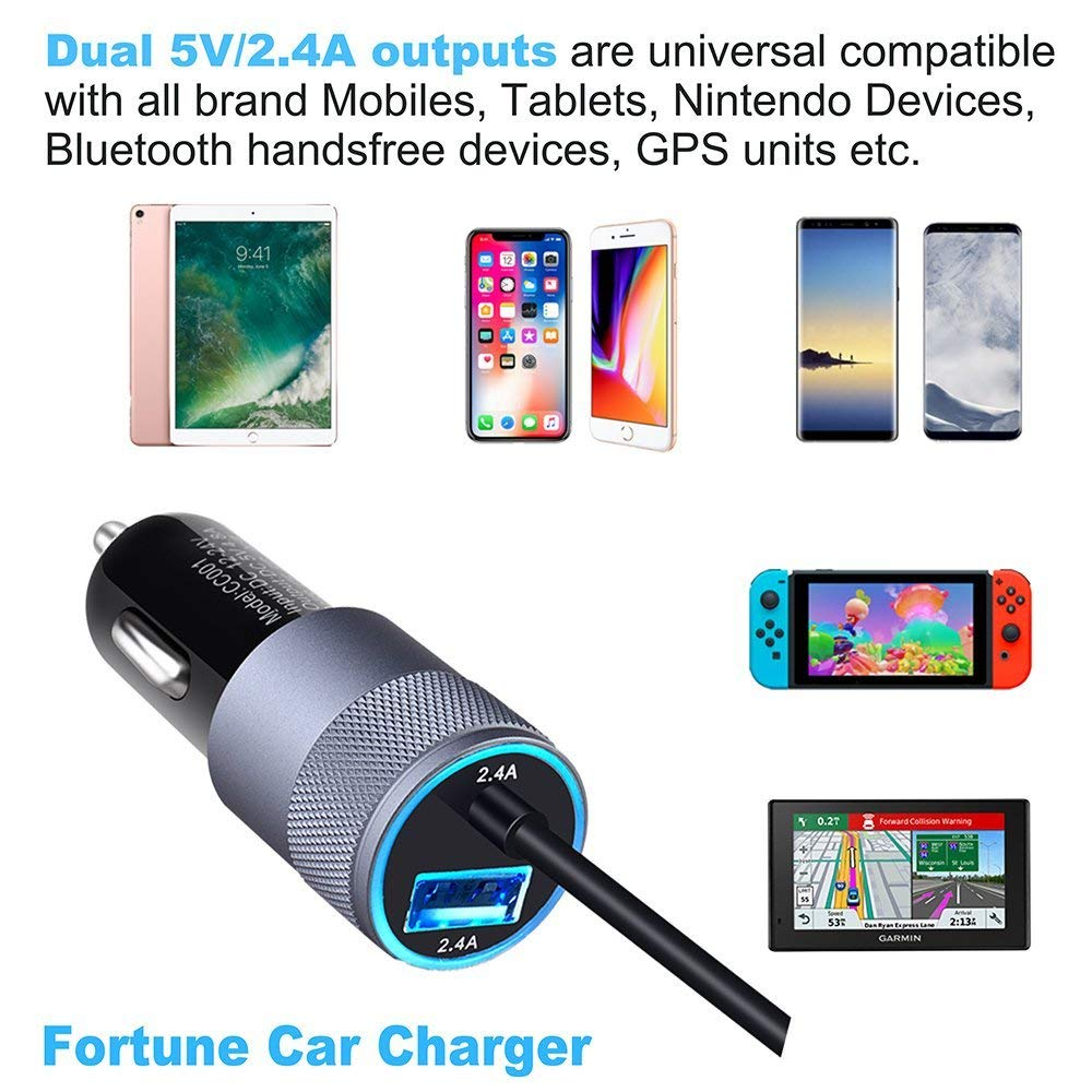 Car Charger iPhone iPhone Car Charger with 24W 4.8A Dual 5V//2.4A Port /& 6 Feet Retractile Coiled Charging Cord Fits with XR XS Max X 8 7 6S 6 Plus 5 SE 5S 5 5C Mini 2 3 4 Fortune Group Car Charger Adapter iPhone