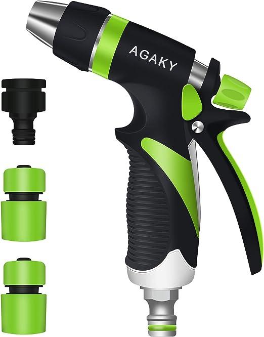AGAKY Pistola de Riego, Pistola para Manguera Jardin Alta Presión Caudal de Agua Regulable, Pistola de