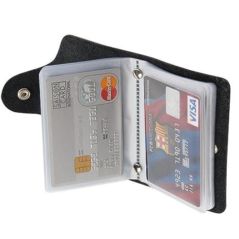 c1b49fe5505b Lovein Soft Leather Credit Card Holder Wallet Pocket ID Business Card Case  Purse Black