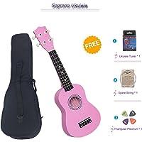 Soprano Ukulele Beginner Pack, 21 Inch Basswood kids Ukuleles Starter Kit with Gig Bag Digital Tuner Spare Strings and Picks