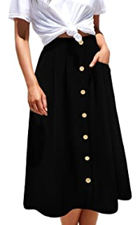 be4841c58d Aifer Womens High Waist A-Line Button Down Vintage Midi Chiffon Pleated  Skirt with Pockets