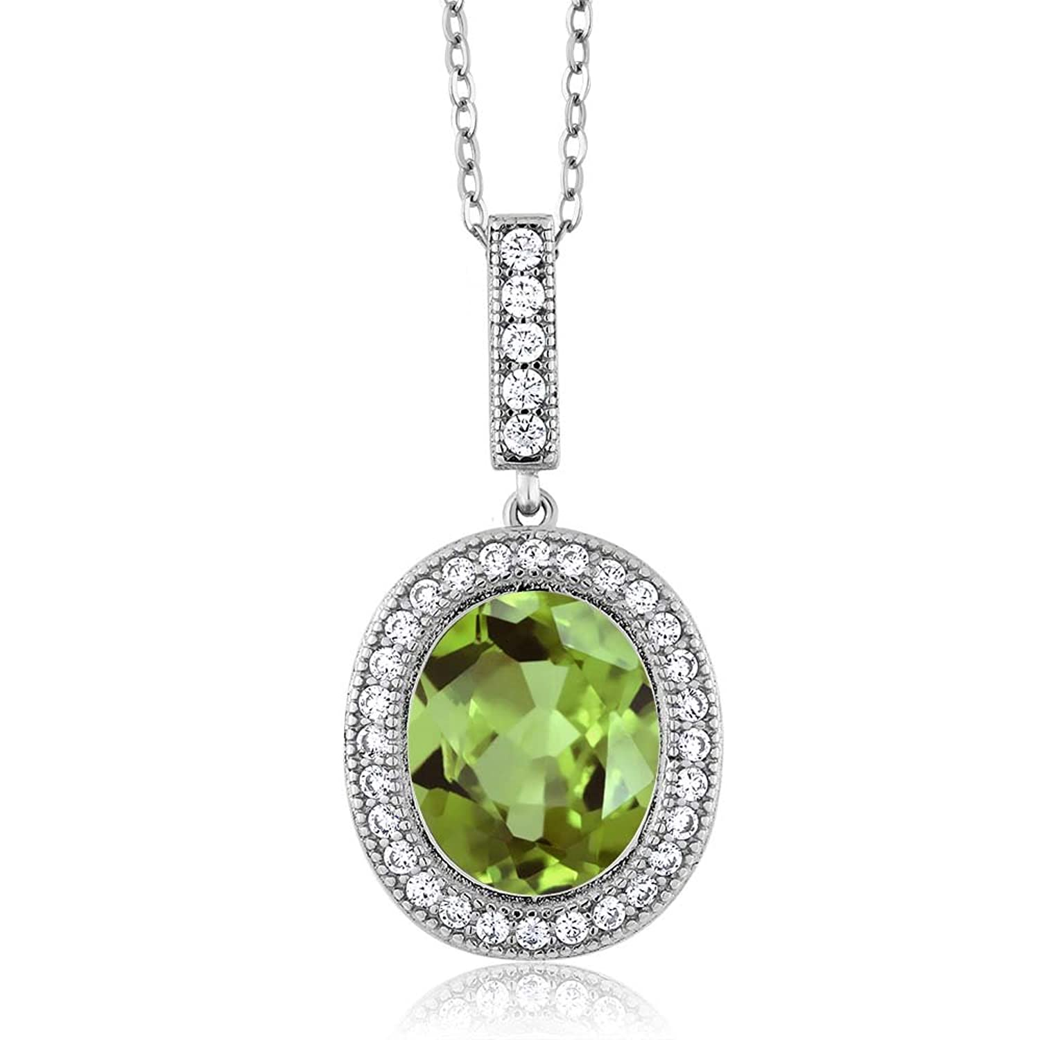 Sterling Silver Oval Green Peridot Pendant Necklace ( 5.31 cttw, With 18 Inch Silver Chain)