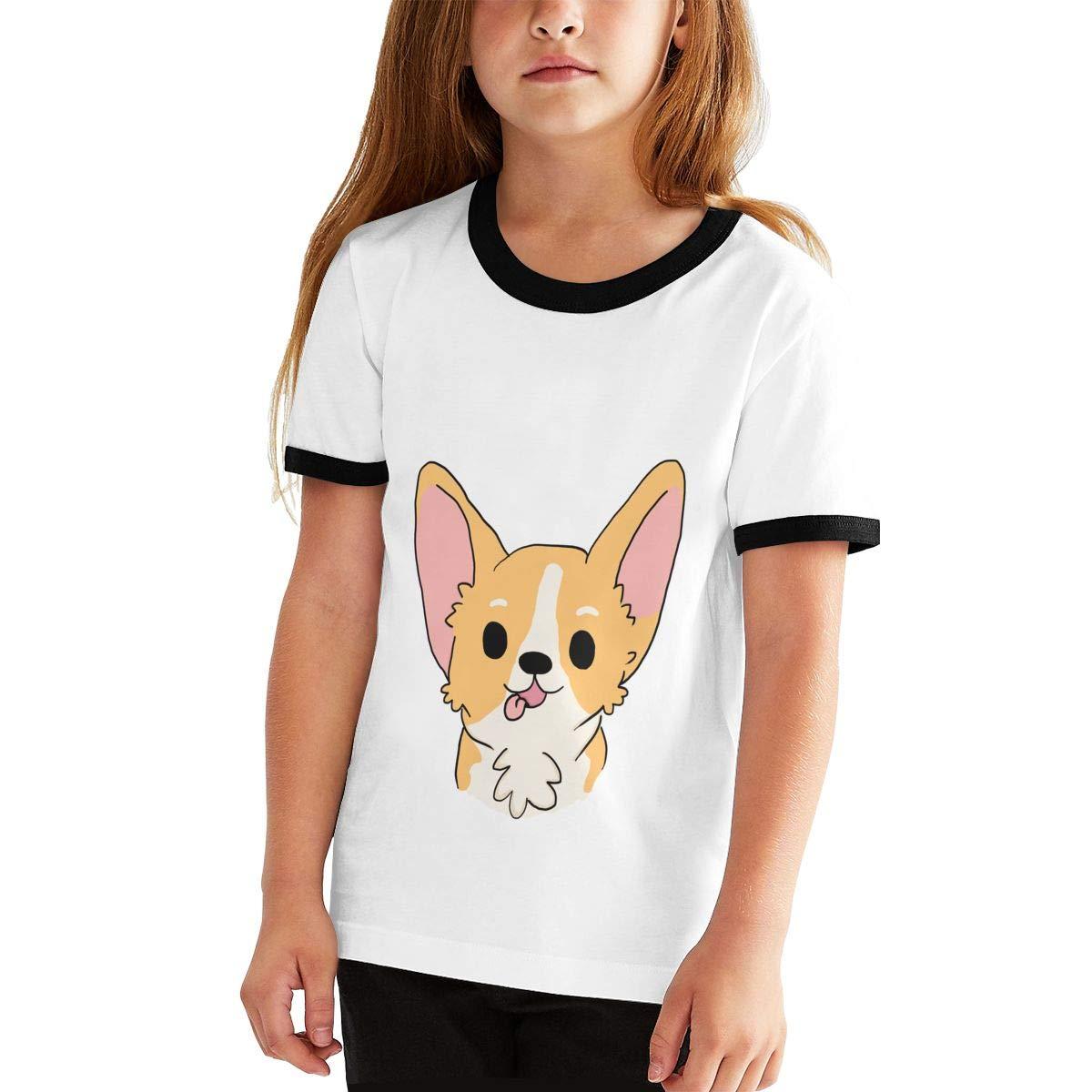 Funny Corgi Unisex Childrens Short Sleeve T-Shirt Kids Or Little Boys and Girls