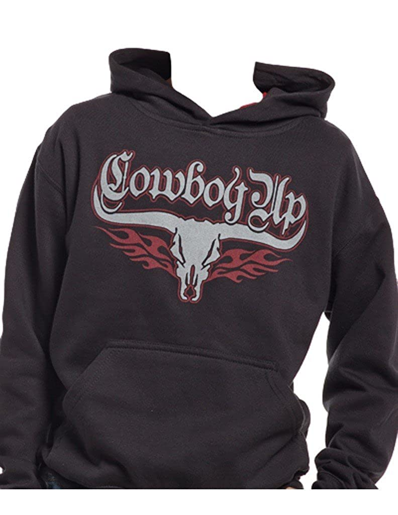 Cowboy Up Western Sweatshirt Boys Skull Design Hoodie Black CUY324