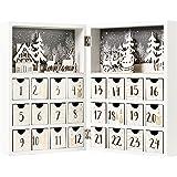 Christmas advent calendar木製の白い本のクリスマスカレンダーは24個の引き出し