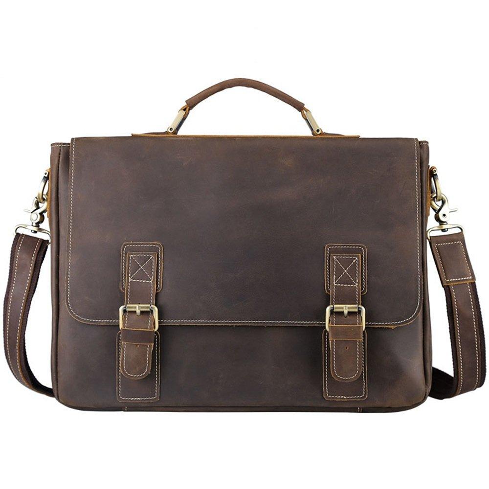 Sdcvopl Laptop Bag Office Dark Brown Retro Style Leather Messenger Bag Handbag Men's Business Briefcase 16'' Notebook Umbrella Travel Briefcase with Organizer