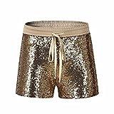 Women Sport Casual Pants,Jchen(TM) Fashion Women Sequins Shorts Mid Waist Sexy Pocket Shorts Causal Hot Pants (M, Gold)