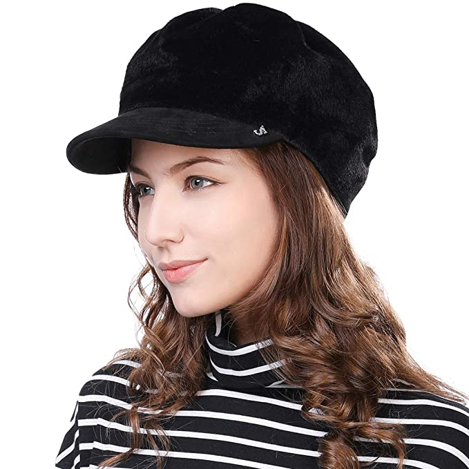 12853926d5d36 Womens Newsboy Cap Baker Berets Fisherman Conductor Greek Hat Winter Casual  Fashion Cancer Amazon Black