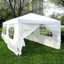 Outsunny 10'x20' Outdoor Folding Pop Up Party Tent Wedding Gazebo Canopy Patio Shelter with 6 Sidewalls, White
