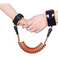 Rongda Andadores cinturón de lucha ajustable seguridad de los niños anti-perdida muñeca banda de enlace niños niño arnés correa correa (Naranja, 2.0m)