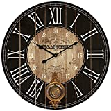 HDC International Round Brown and Black Paris Decorative Wall Clock with Big Roman Numerals and Distressed face 23 x 23 inches Quartz Movement.0116 Review