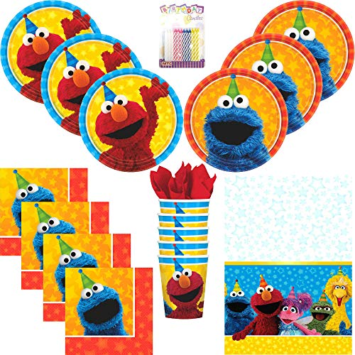 Sesame Street Elmo and Cookie Monster Birthday Party Plates Napkins Cups Table Cover Serves 16 with Candles