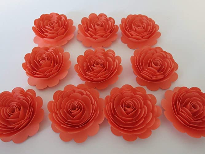 Amazon coral rose decorations 10 big 3 salmon pink paper coral rose decorations 10 big 3quot salmon pink paper flowers gorgeous wedding table mightylinksfo