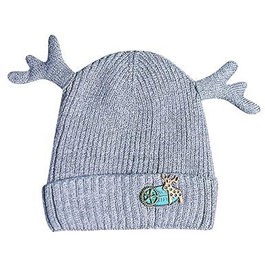 cee5edab0122 Sunenjoy Bonnet Bébé Enfants Garçon Fille Chapeau de Laine Tricot Bonnet  Cerf Laveur Chaud Casquette en