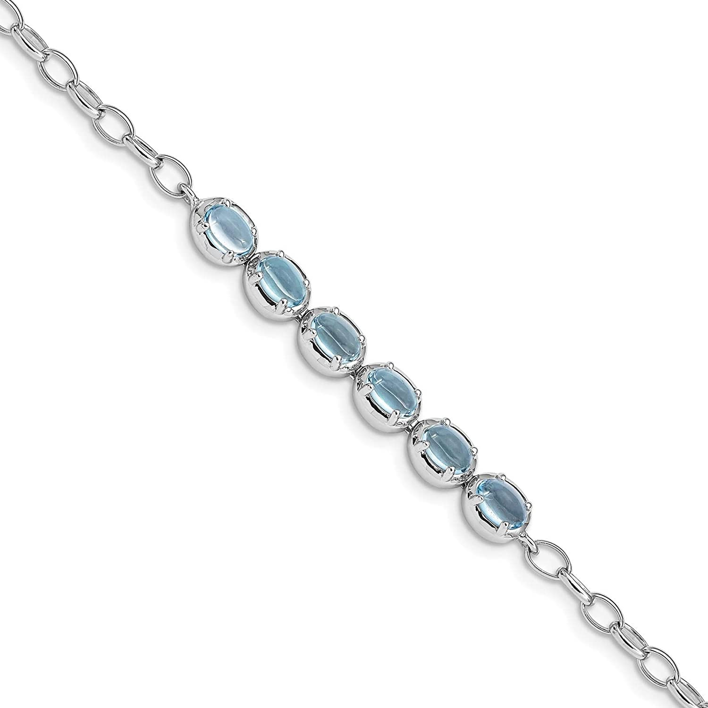 925 Sterling Silver Rhodium-plated Polished Light Blue Topaz Link Bracelet 8