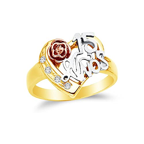 Jewel Tie Solid 14k Rose Yellow /& White Gold 15 Years Birthday Heart Ring 7 Size