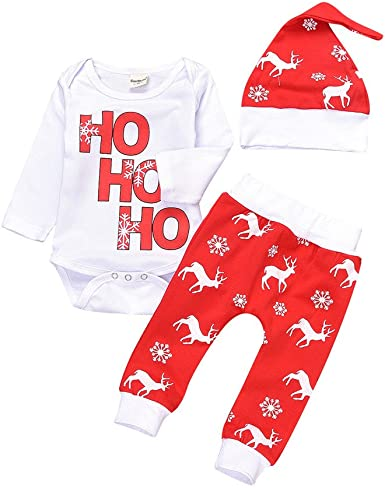 Christmas Elk Set Newborn Baby Boy Girls Tops Romper+Long Pants+Hat Outfits