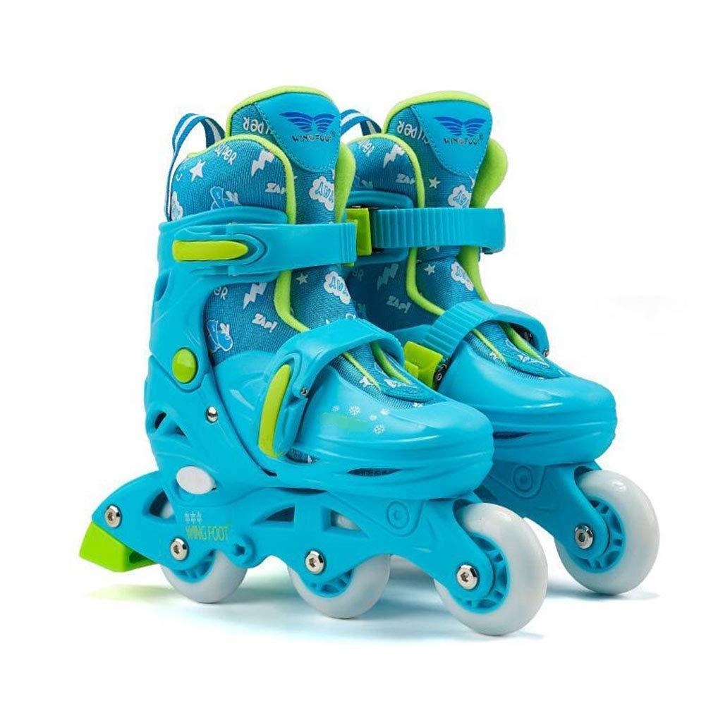 子供用調節可能ローラースケート - 4輪クワッドスケート調節可能パッド入りローラーブレードインラインスケートサイズ子供用プロスケート 2月の春のそよ風 (Color : 青, Size : S) 青 Small
