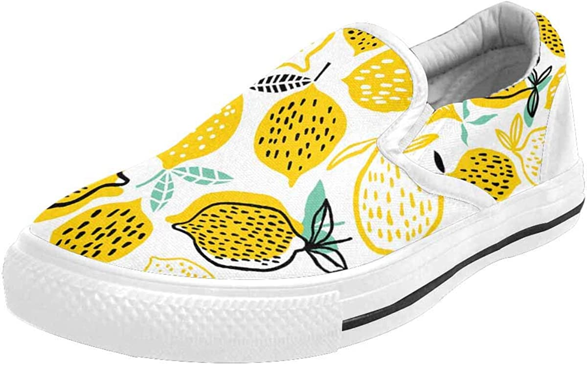 INTERESTPRINT Summer Lemon Pattern Women's Casual Slip-On Comfort Walking Flats Shoes